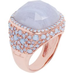 Anello Cocktail Micro Pavè con Pietra ROSE GOLD 14 AGATA BLU LACE