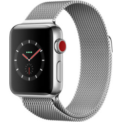 Apple Watch Series 3 38mm cassa in acciaio inossidabile argento con Loop in maglia milanese argento Wifi Cellular