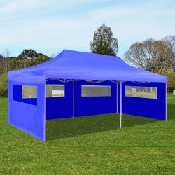 vidaXL Tenda per Feste Pop up Pieghevole Blu 3 x 6 m