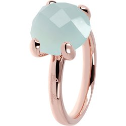 Anello Cocktail Calcedonio Verde Acqua ROSE GOLD 12 CALCEDONIO ACQUA